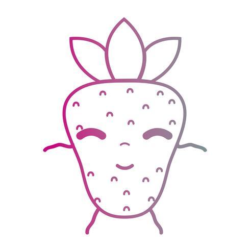 Linie kawaii nette glückliche strwberry Frucht