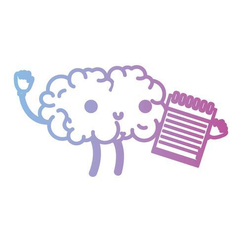 line kawaii happy brain with notebook tool