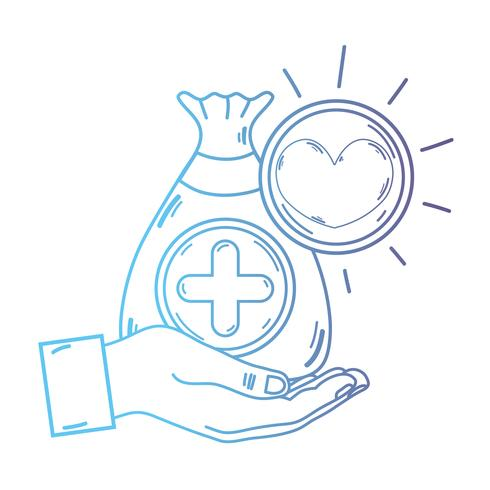mão de linha com dotação de saco com o símbolo de coração e cruz