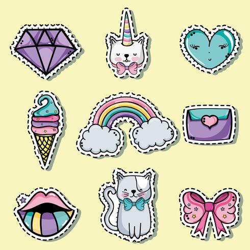set fashion cute patch decoration design