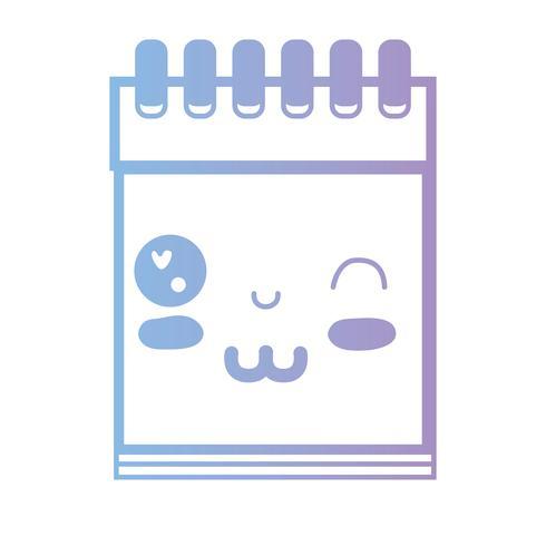 linha kawaii bonito ferramenta de caderno engraçado vetor