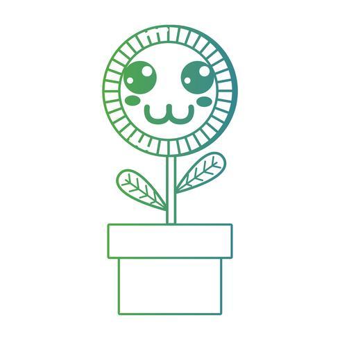 linea kawaii simpatica pianta di girasole felice