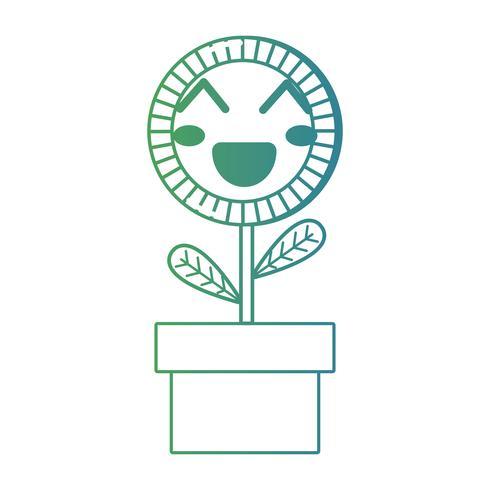 ligne kawaii mignonne joyeuse plante de tournesol
