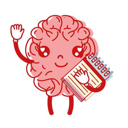 kawaii cerveau heureux avec l'outil de l'ordinateur portable