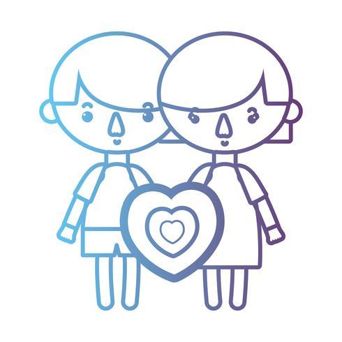 linha crianças junto com design de coração vetor