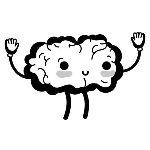 Kontur kawaii niedliches glückliches Gehirn mit den Armen und den Beinen
