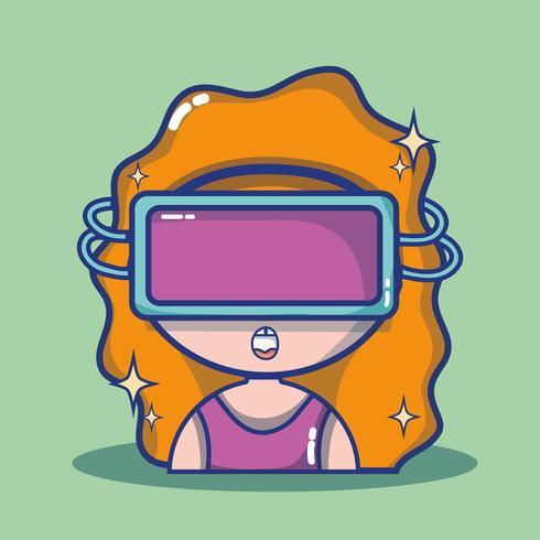 Chica con tecnología de gafas 3d para realidad virtual.