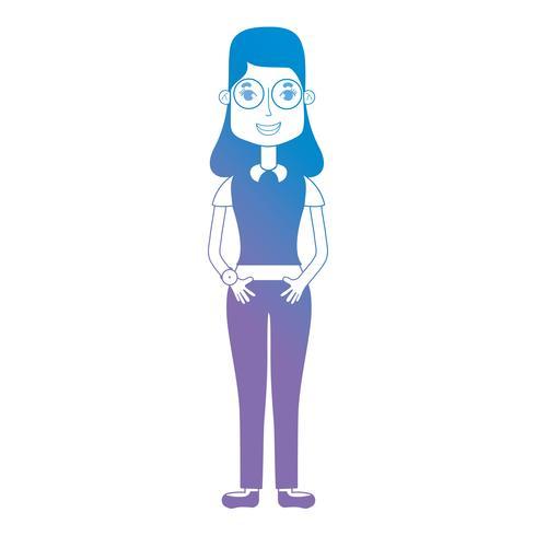 Linie Avatar Frau mit Frisur und Kleidung