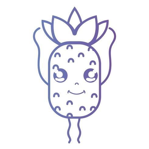 line kawaii söt glad ananasfrukt