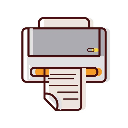 printer machine technology with business document vector