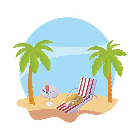 plage d'été avec des palmiers et une chaise scène