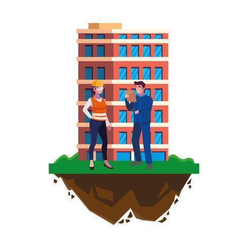 aantal bouwers aannemers werknemers met gebouw