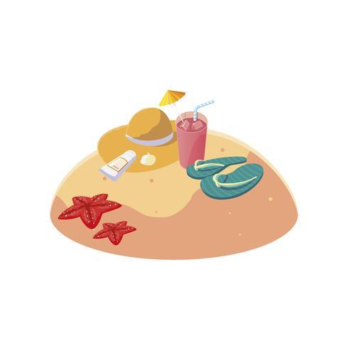 plage de sable d'été avec une scène de tongs