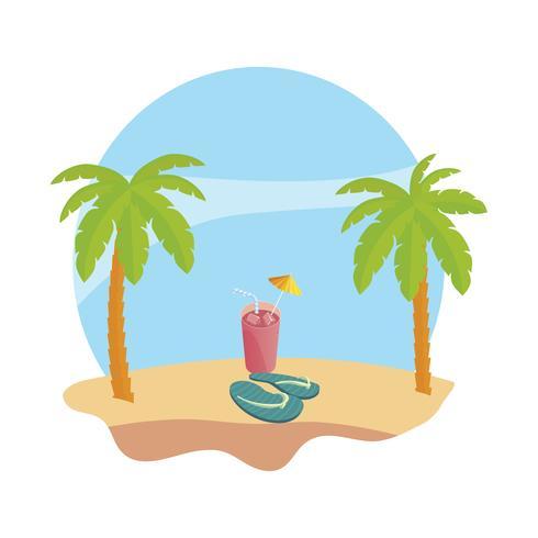 praia de verão com palmas e suco cena de coquetel de frutas vetor