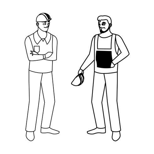 constructores masculinos constructores trabajadores personajes