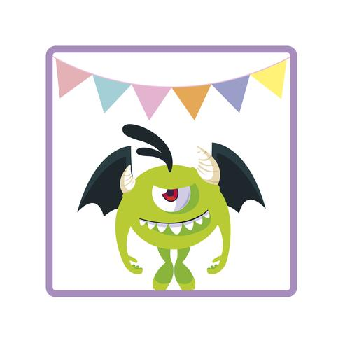 square frame with monster flying and party garlands