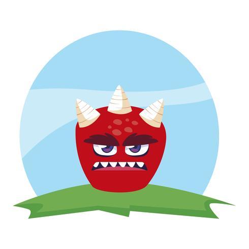 grappig monster met hoorns in het veld