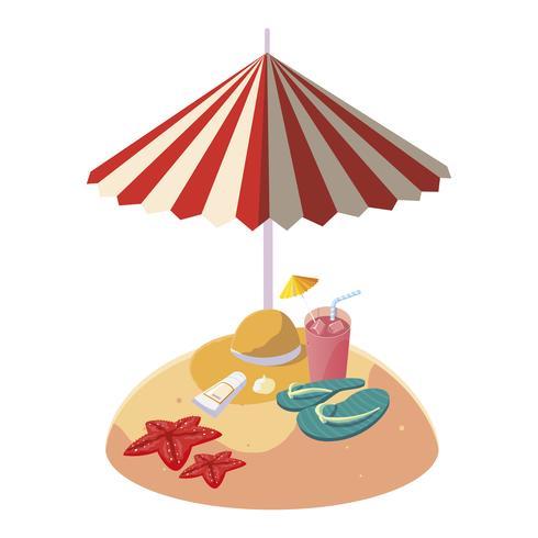 Playa de arena de verano con sombrilla y sombrero de paja. vector