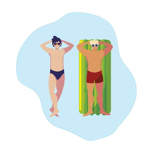 young men with swimsuit and float mattress in water
