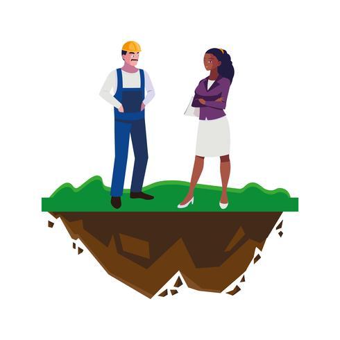 mannelijke bouwer constructor met afro vrouw ingenieur