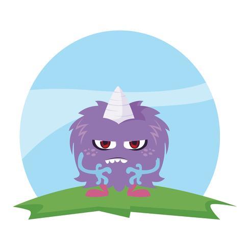 lustiges Monster mit Horn auf dem Gebiet vektor
