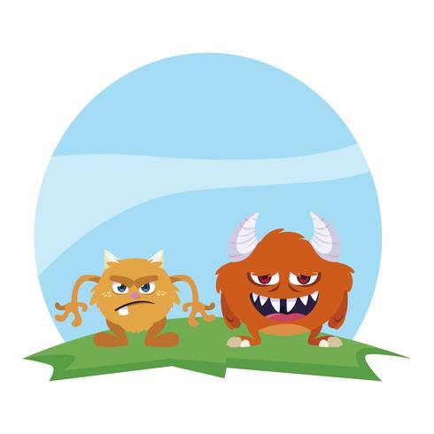 grappige monsters paar in het veld kleurrijke karakters