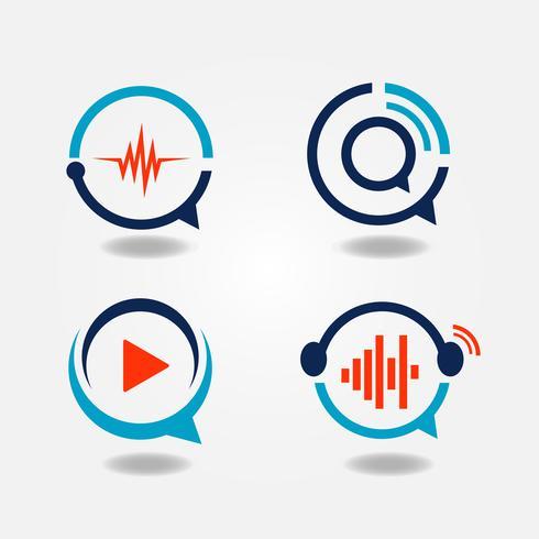 Logo multimédia de discours de bulle