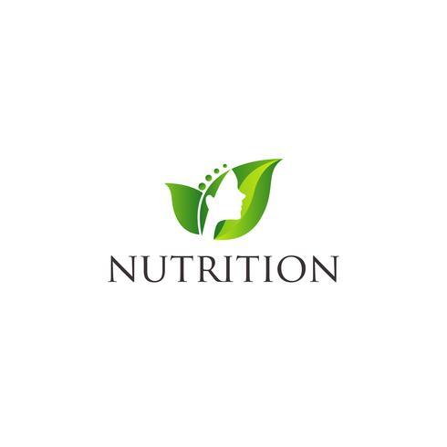 Groen blad met vrouw gezicht logo