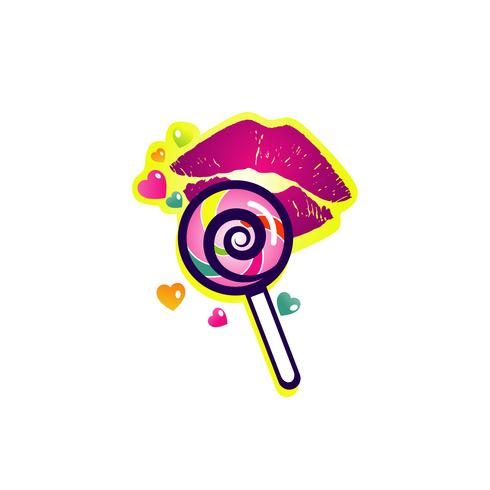 Colorful Lollipop with Lips