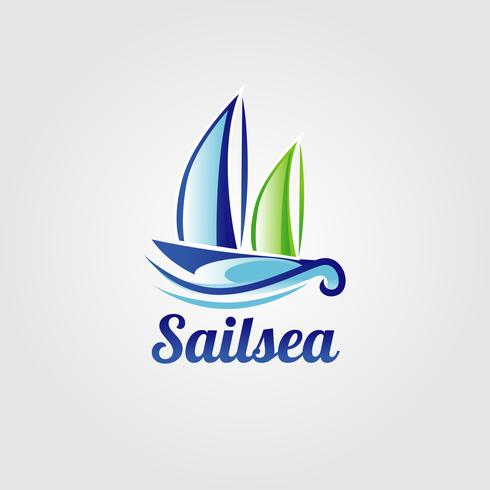 Logotipo del barco de vela de mar