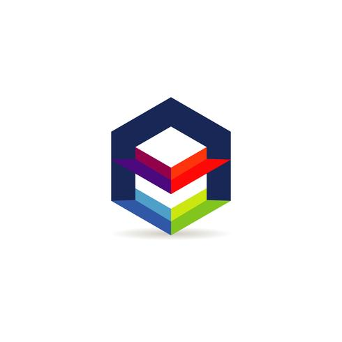 Zeshoek kleurrijk logo