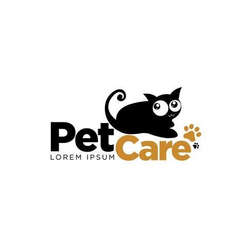 simbolo di logo di cura dell'animale domestico gatto nero