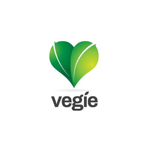 Logotipo de forma de corazón de hoja verde