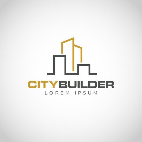 Logotipo de propriedade urbana de linha simples vetor