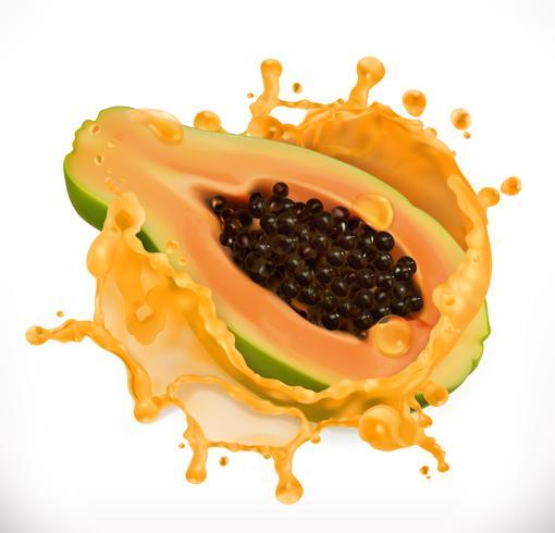 Suco de mamão. Frutas frescas, ícone do vetor 3d