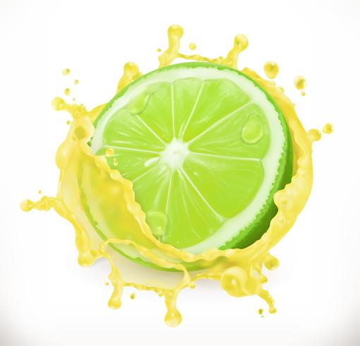 Lime with juice splash