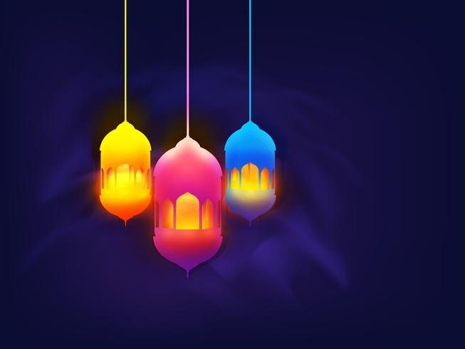 Kleurrijke lampen voor Ramadan Kareem-viering.
