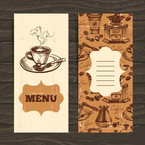 Menu caffè vintage disegnati a mano
