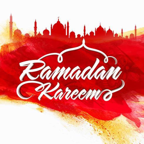 Texte stylé avec mosquée pour Ramadan Kareem.