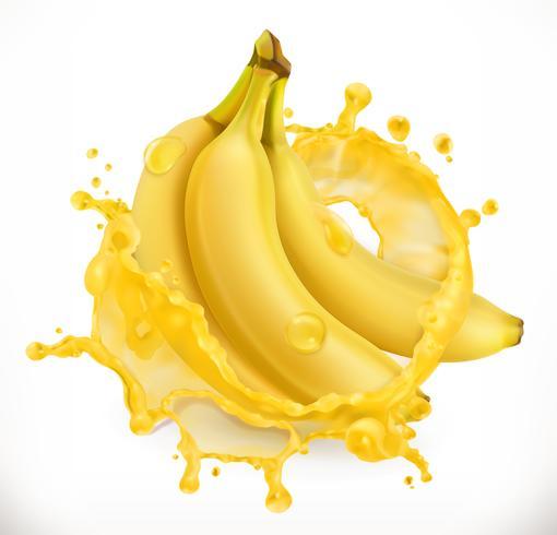 Banana with juice splash