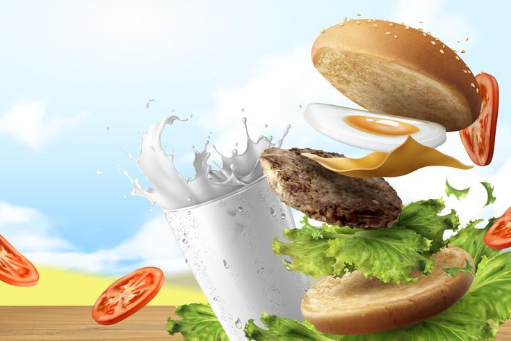 Leckere Hamburger und Milch