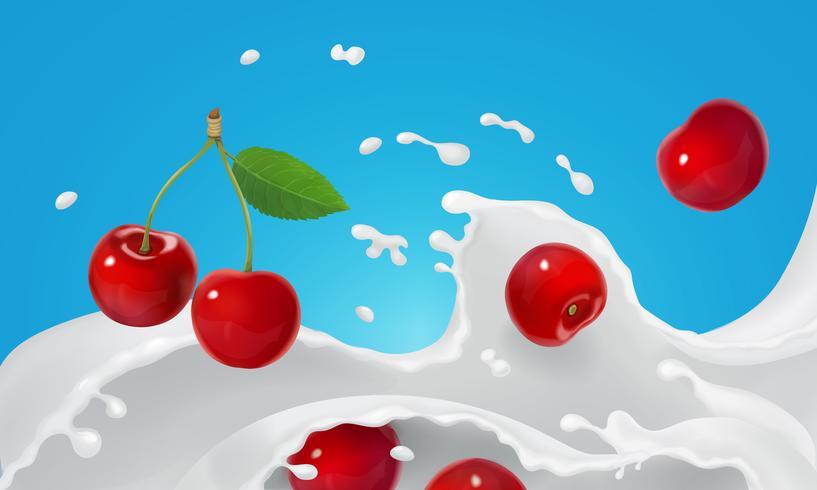 Joghurtspritzen oder Eiscreme, die mit roten Beeren schmelzen
