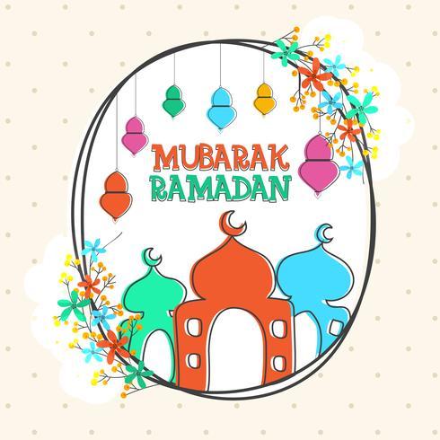Greeting card design for Ramadan Mubarak.