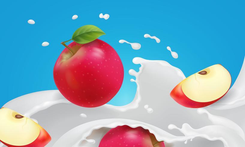 Roter Apfel, der in Jogurtspritzen fällt