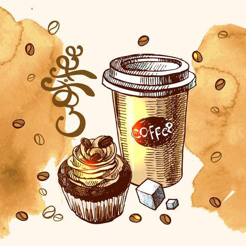 koffie ontbijt schets