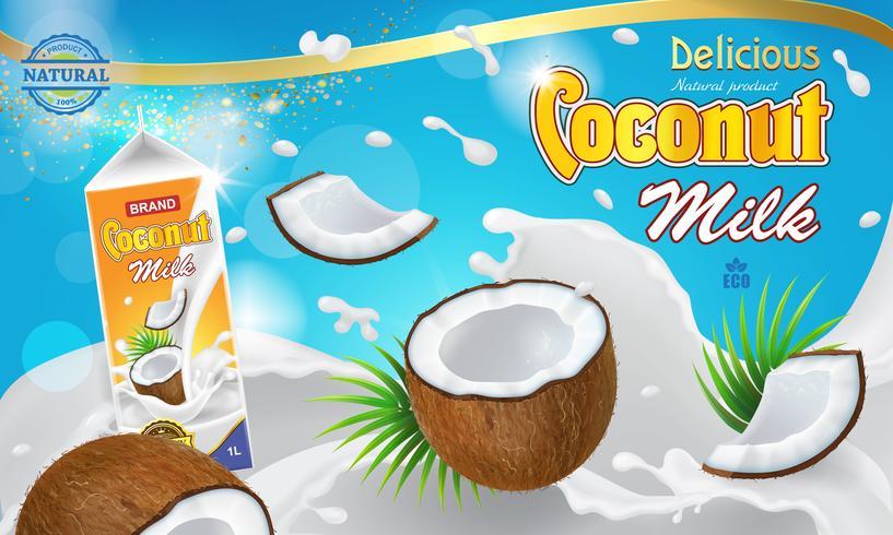 Leche blanca y cocos flotando en crema.