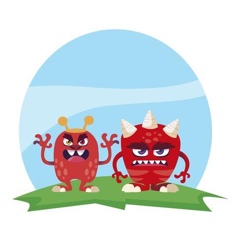 Divertidos monstruos par en el campo personajes coloridos