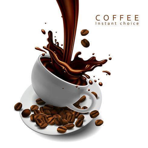 Coffee advertising design with cup of coffee