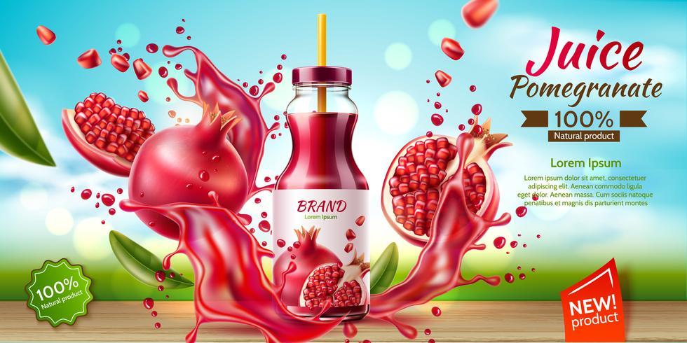 realistische Granatapfelsaftflasche Splash a