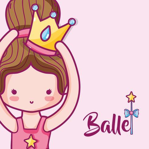 girl practice ballet to elegant preformer